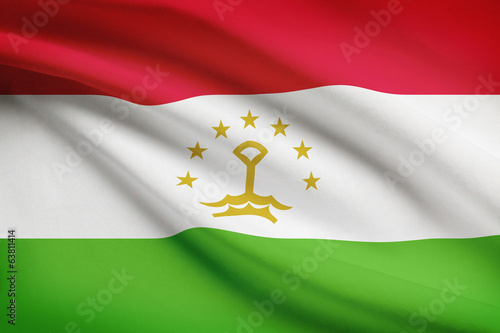 Series of ruffled flags. Republic of Tajikistan.