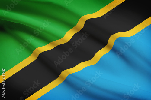 Series of ruffled flags. United Republic of Tanzania.