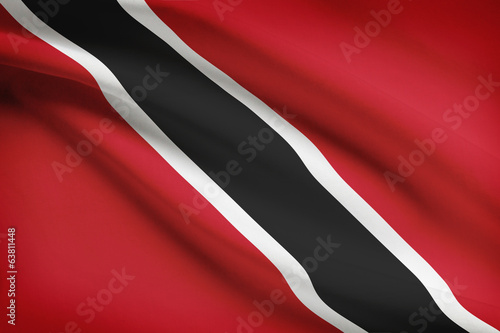 Series of ruffled flags. Republic of Trinidad and Tobago.