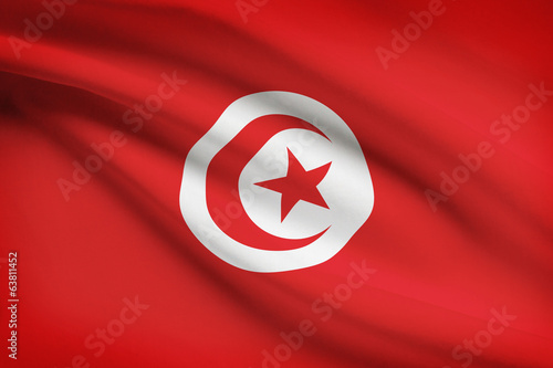 Series of ruffled flags. Tunisian Republic.