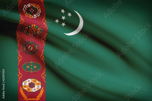 Series of ruffled flags. Turkmenistan.