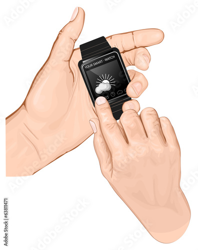 Hand hold smart-watch. Gesture Tap.
