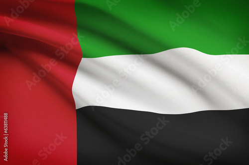 Series of ruffled flags. United Arab Emirates.