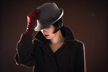 portrait beautiful fashionable woman detective
