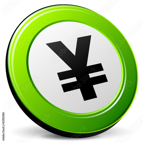Vector green yen icon