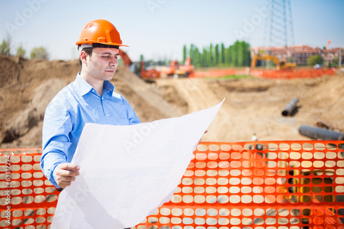 Man at work in a construction site