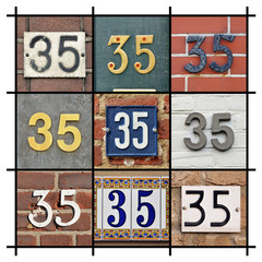 Collage of House Numbers Thirty-five