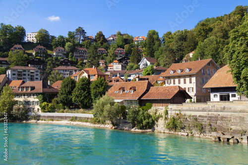 Houses along the river Aare in Bern