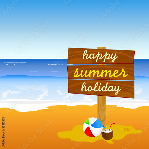 signboard on the beach color vector