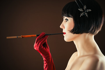Beauty Retro Woman with Mouthpiece