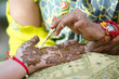 applying henna on hand, wedding ,Rajasthan , India