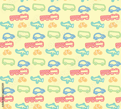 Pattern of Vehicles, Colorful Children's illustration style