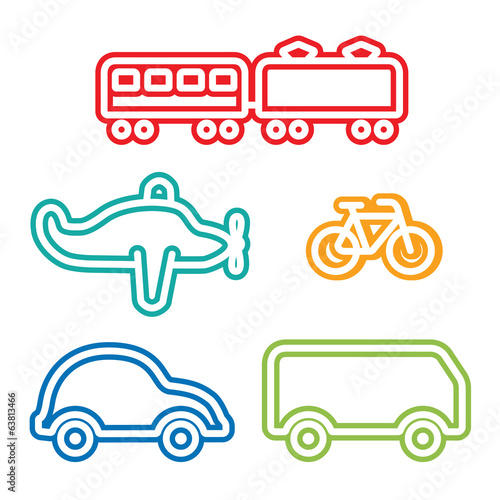 Icon Set of: Train Airplane Bicycle Car  Bus, Kids illustration