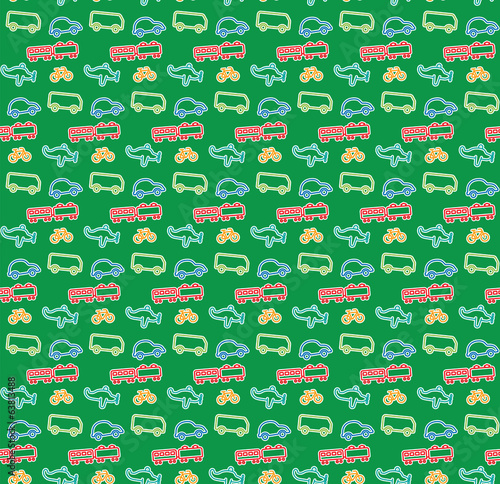 Pattern of: Train Airplane Bicycle Car Bus, Kids illustration