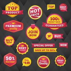 vector business badge labels set on dark background