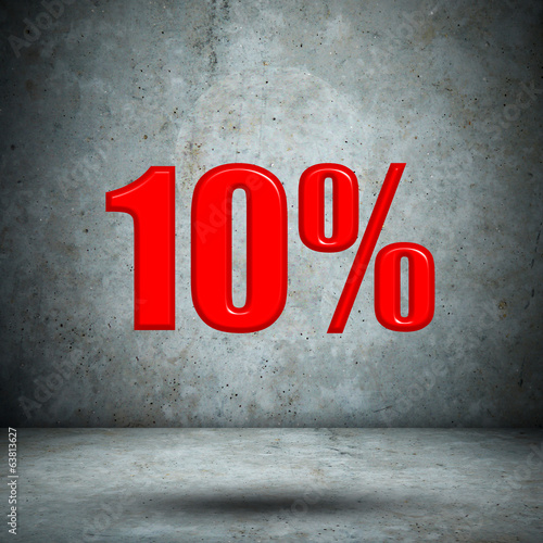 10 percent on concrete wall