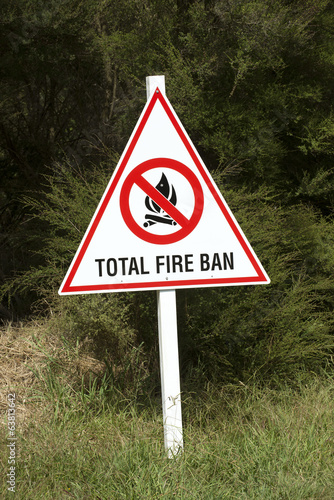 Total Fire Ban sign on edge of woodland