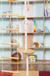 Постер, плакат: Sport rope against toys background Interior of childrens room