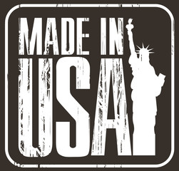 Made in USA grunge rubber stamp on black background