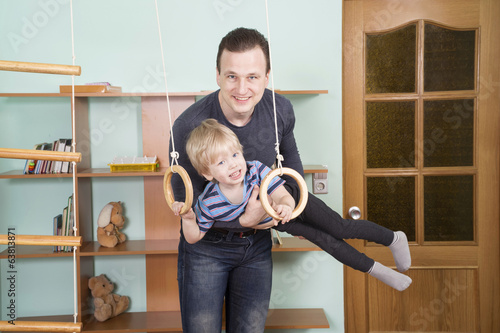 Father trains the little son