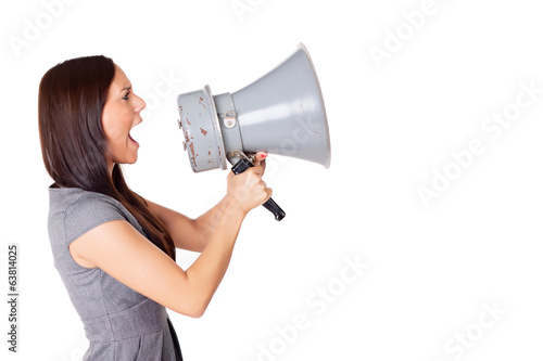 Businesswoman shouting on his megaphone