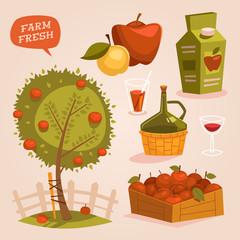 Gardening. Farm fresh. Retro style vector elements.