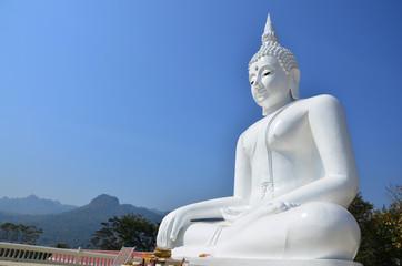 White Buddha at Kanchanaburi Thailand