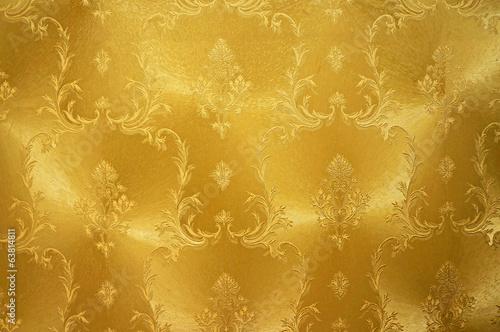 obraz lub plakat Złoty kwiat rocznika tkaniny tle