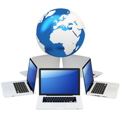 3d computer global mobile network with earth globe