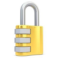 3d golden code padlock