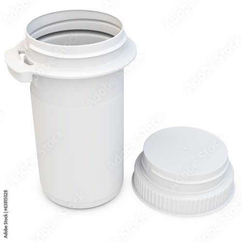 3d white blank plastic medical container