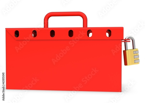 3d red locked box with golden padlock