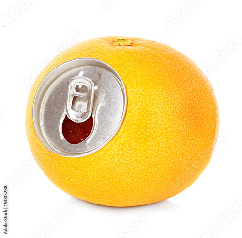 fresh grapefruit, orange juice in a tin