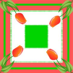 Rote Tulpen auf quadratischem Hintergrund