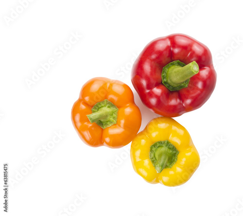 colorful sweet peppers on white background