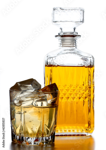 Whiskey glass on white