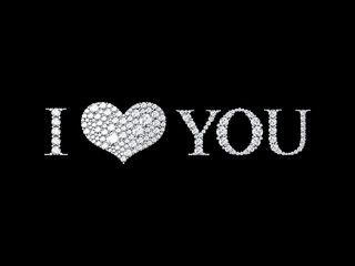 word I love you sign on black background