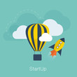 New project startup vector concept with flat cool colors