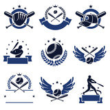 Fototapety Baseball labels and icons set. Vector