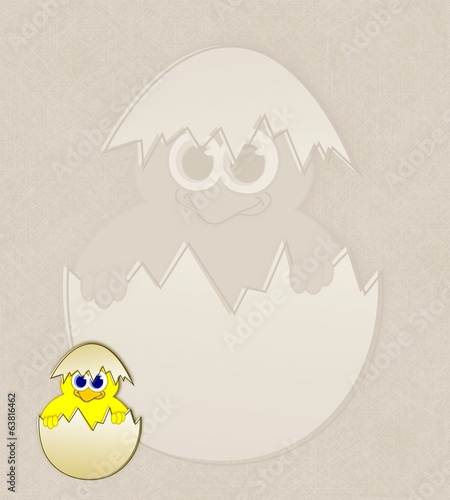 Easter chick in eggshell - watermark illustration