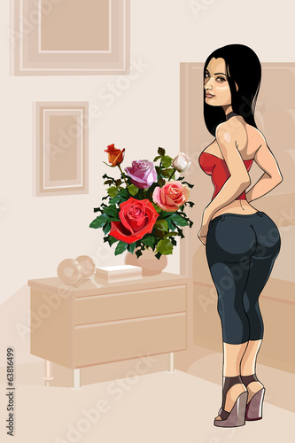 bouquet of roses and a girl in the interior