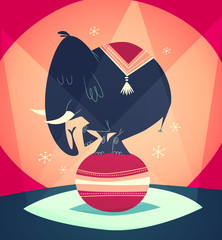 Balancing Elephant show. Vector illustration.