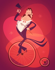 Funny circus acrobat. Vector illustration.