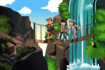 Kids on an adventure trip