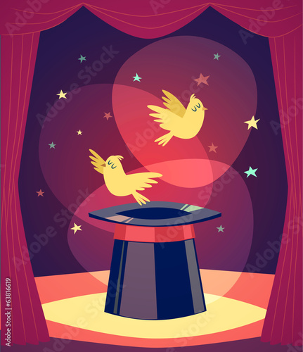 Trick with birds. Vector illustration.