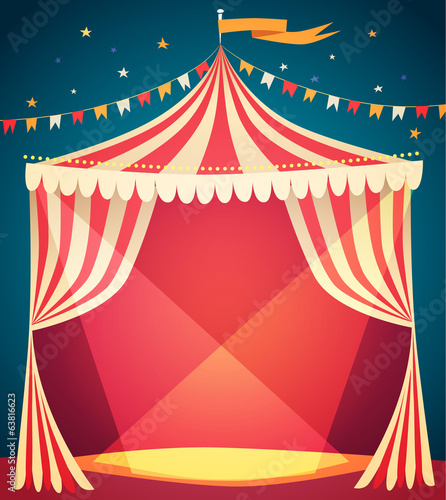Circus tent poster. Vector illustration. - 63816623