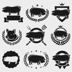 Pig labels and elements set. Vector