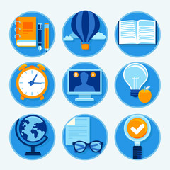 Vector education icons in flat style