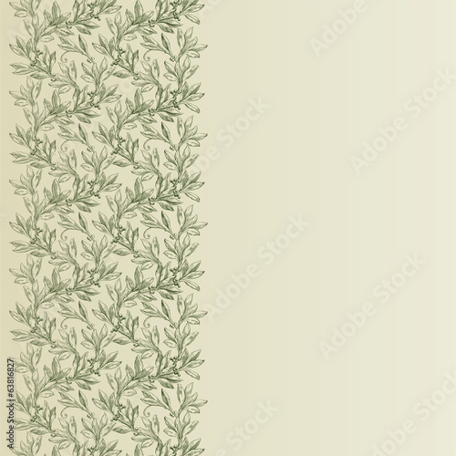 Vintage  vector ornate background with laurel leaves
