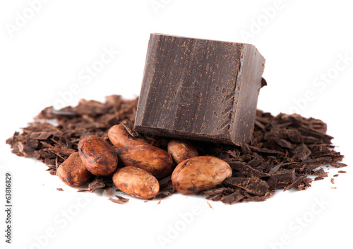 Chocolate and cocoa beans over White